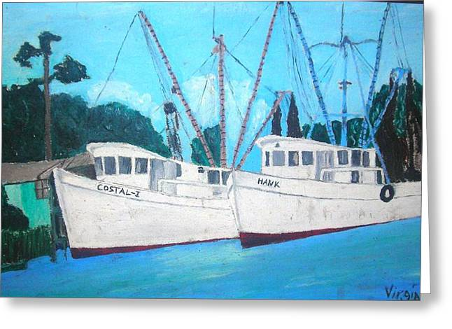 Shrimp Boat Captains Greeting Cards - Calabash Shrimp Boats 1970 Greeting Card by Virgia Smith
