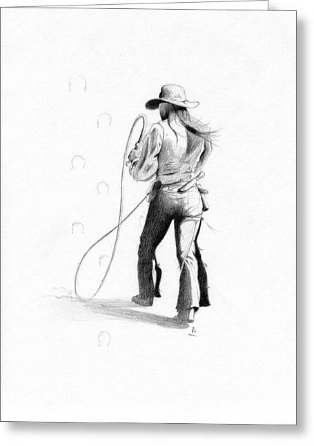 Contemporary Native American Greeting Cards - Calamity Jane Greeting Card by Robert Martinez