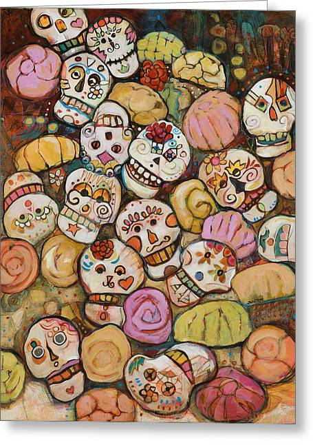 Calaveras Greeting Cards - Calaveras Azucar y Pan Dulce Greeting Card by Jen Norton