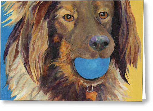 Dog Playing Ball Greeting Cards - Caleigh Greeting Card by Pat Saunders-White
