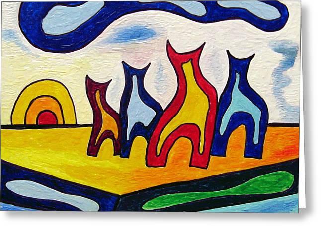 Encaustic Greeting Cards - Calendar Cats 1 Greeting Card by Mario Zindler