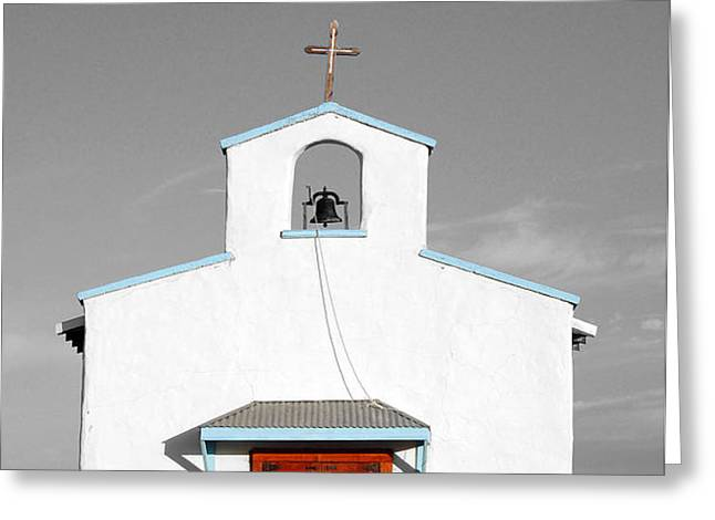 Calera Mission Chapel Facade in West Texas Color Splash Black and White Greeting Card by Shawn O'Brien