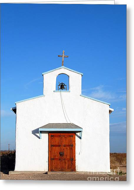 Rustic Photographs Greeting Cards - Calera Mission Chapel Facade in West Texas Greeting Card by Shawn O