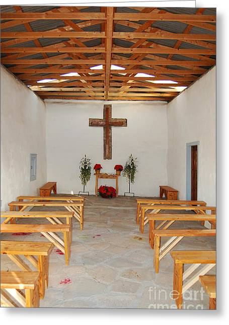Rustic Photographs Greeting Cards - Calera Mission Chapel Interior in West Texas Greeting Card by Shawn O