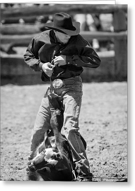 Animal Greeting Cards - Calf Roper Greeting Card by Michelle Wrighton