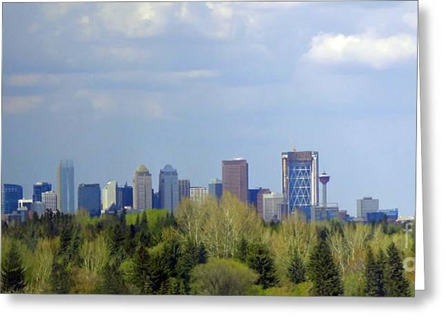 Calgary Skyline Spring 2011 Greeting Card by Al Bourassa