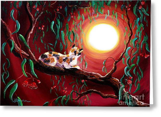 Calico Greeting Cards - Calico Cat in Eucalyptus Boughs Greeting Card by Laura Iverson