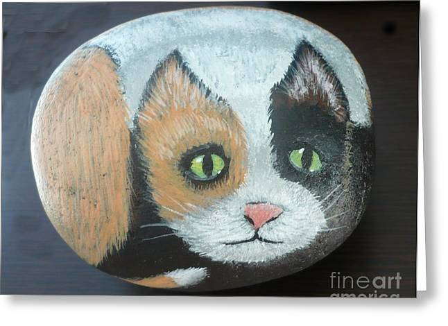 Cute Sculptures Greeting Cards - Calico Cat Greeting Card by Monika Dickson-Shepherdson