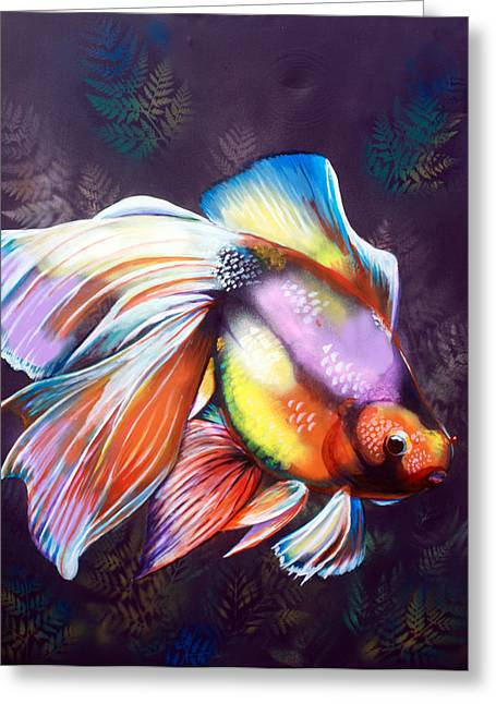 Oranda Greeting Cards - Calico Oranda Greeting Card by Mark SWAIN