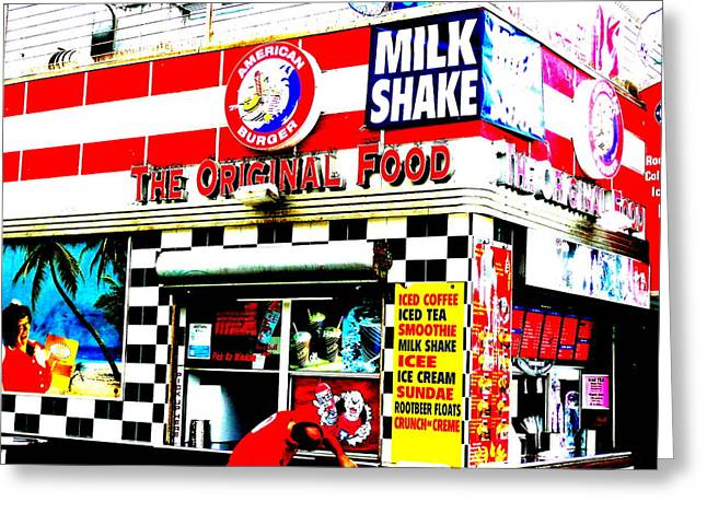 California Beach Art Digital Art Greeting Cards - Califorinia Burger Joint  Greeting Card by Funkpix Photo Hunter