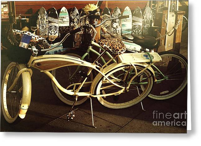 California Beach Greeting Cards - California beach bikes and skateboards Greeting Card by Nina Prommer
