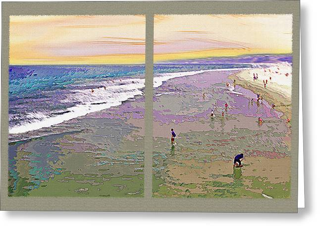 California Beachgoers Diptych 2 Greeting Card by Steve Ohlsen