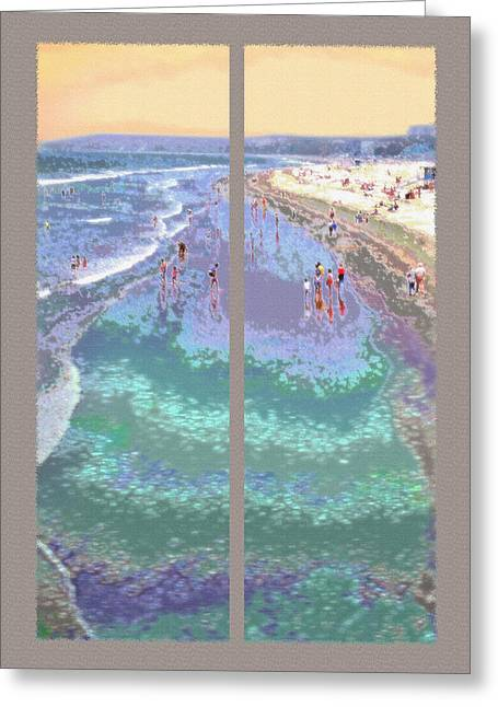 California Beachgoers Diptych Greeting Card by Steve Ohlsen
