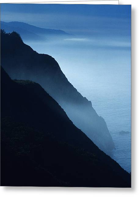 Foggy Beach Greeting Cards - California Big Sur Coast Greeting Card by Larry Dale Gordon - Printscapes