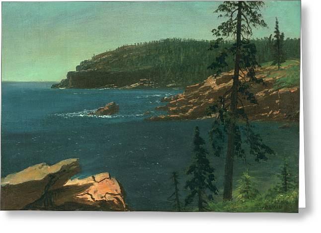 Sea Shore Greeting Cards - California Coast Greeting Card by Albert Bierstadt