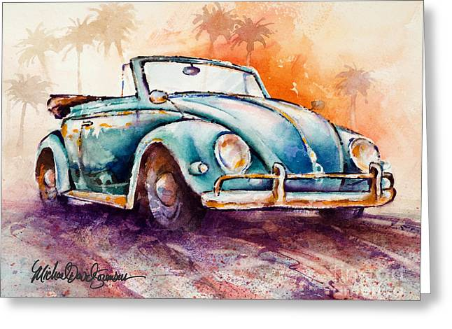 Vw Beetle Greeting Cards - California Convertible Greeting Card by Michael David Sorensen
