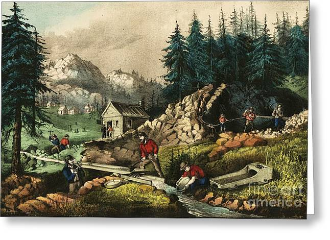 Currier Paintings Greeting Cards - California Gold Mining Greeting Card by Pg Reproductions