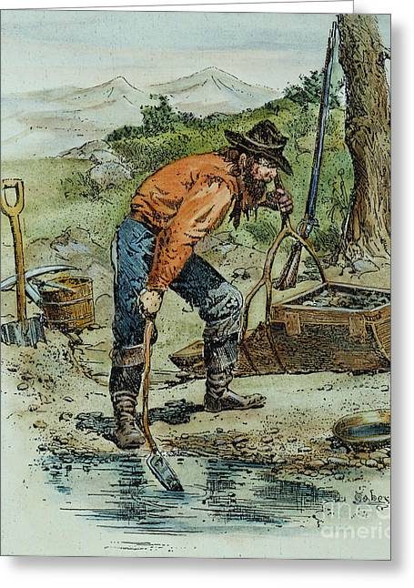 Prospector Greeting Cards - California Goldminer, 1850 Greeting Card by Granger