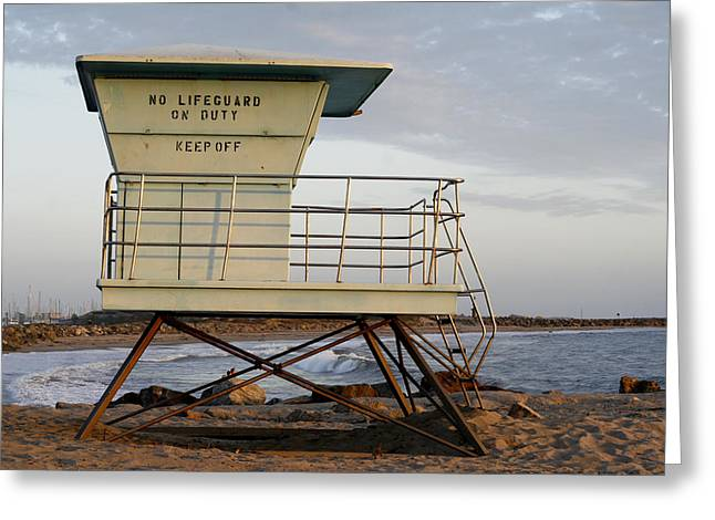 Ocean Photography Greeting Cards - California Lifeguard Tower Greeting Card by Maureen Bates