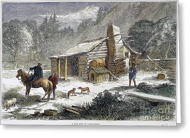 1870s Greeting Cards - California Log Cabin, 1877 Greeting Card by Granger