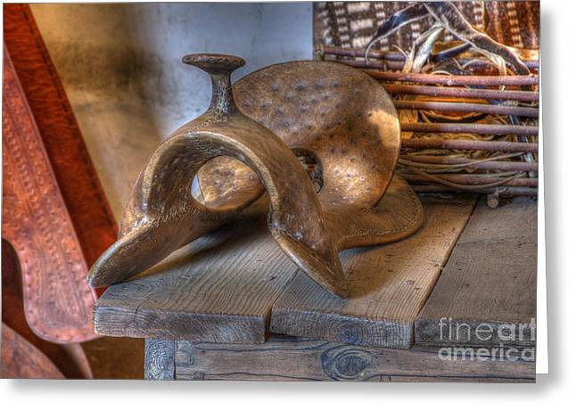 American Heritage Greeting Cards - California Mission La Purisima Saddle Greeting Card by Bob Christopher