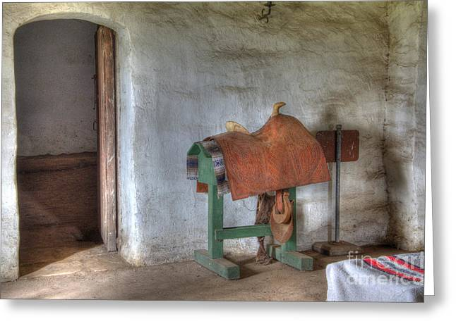 American Heritage Greeting Cards - California Mission La Purisima Saddle Room Greeting Card by Bob Christopher