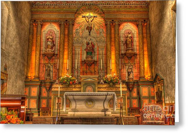 Mission Santa Barbara Greeting Cards - California Mission Santa Barbara Alter Greeting Card by Bob Christopher