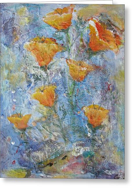 California Poppies Greeting Card by Chaline Ouellet