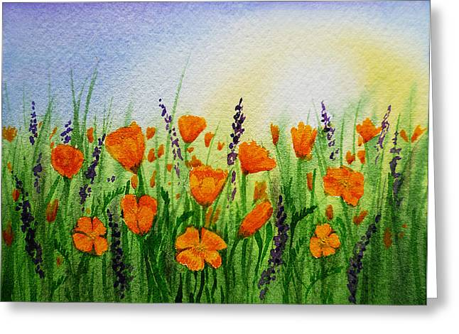 Living Room Dining Room Greeting Cards - California Poppies Field Greeting Card by Irina Sztukowski