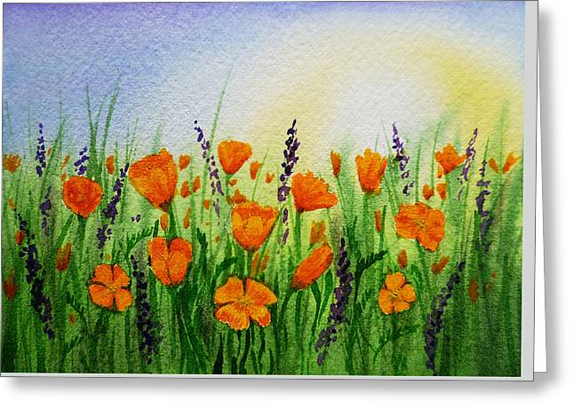 California Poppies Field Greeting Card by Irina Sztukowski