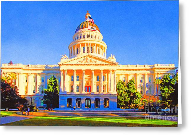 Schwarzenegger Greeting Cards - California State Capitol . Painterly Greeting Card by Wingsdomain Art and Photography