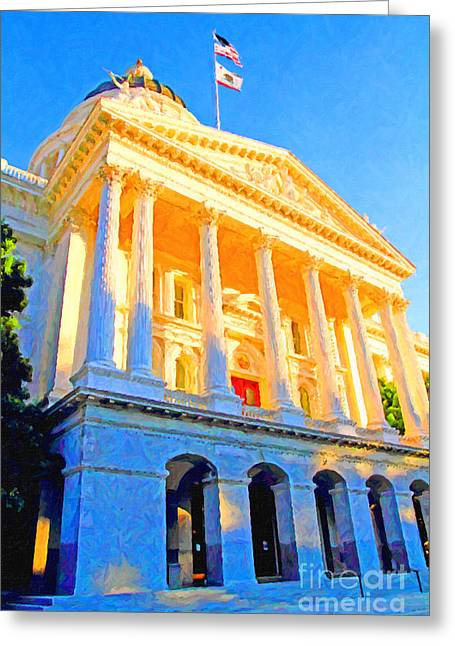 Schwarzenegger Greeting Cards - California State Capitol . View 2 . Painterly Greeting Card by Wingsdomain Art and Photography