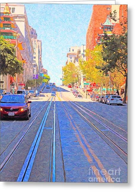 Highrise Digital Greeting Cards - California Street in San Francisco Looking Up Towards Chinatown 2 Greeting Card by Wingsdomain Art and Photography