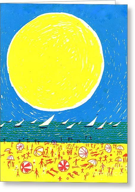 California Beaches Drawings Greeting Cards - California sun Greeting Card by Donovan OMalley