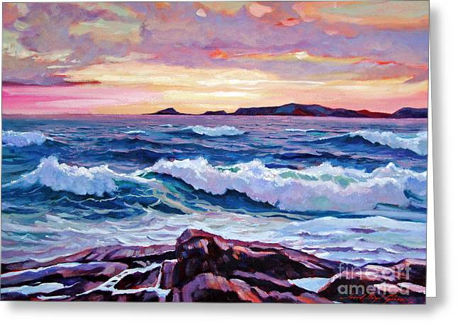 Breakers Greeting Cards - California Sunset Greeting Card by David Lloyd Glover