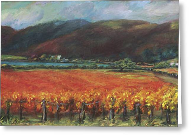 Calistoga Vineyard in Napa Valley by Deirdre Shibano Greeting Card by Deirdre Shibano