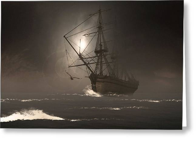 Pirate Ship Digital Greeting Cards - Call Of The Hoot Greeting Card by Lourry Legarde