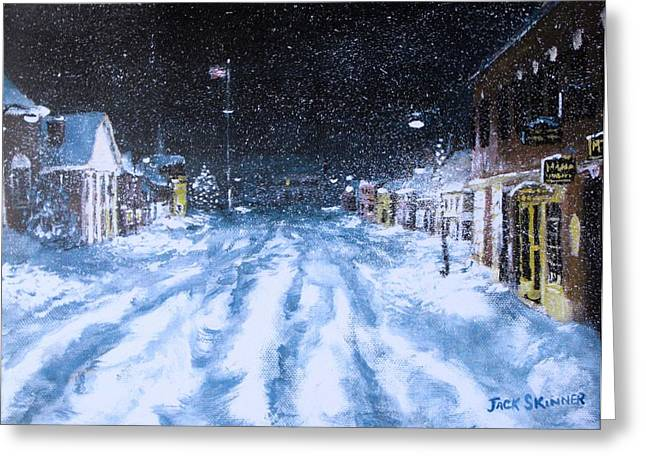 Concord Center Paintings Greeting Cards - Call out the Plows Greeting Card by Jack Skinner