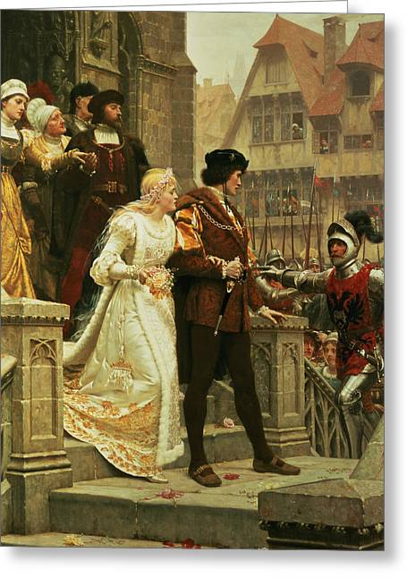 Blair Greeting Cards - Call to Arms Greeting Card by Edmund Blair Leighton