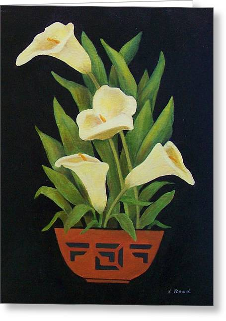 Ground Ceramics Greeting Cards - Calla lilies Greeting Card by Jane Landry  Read