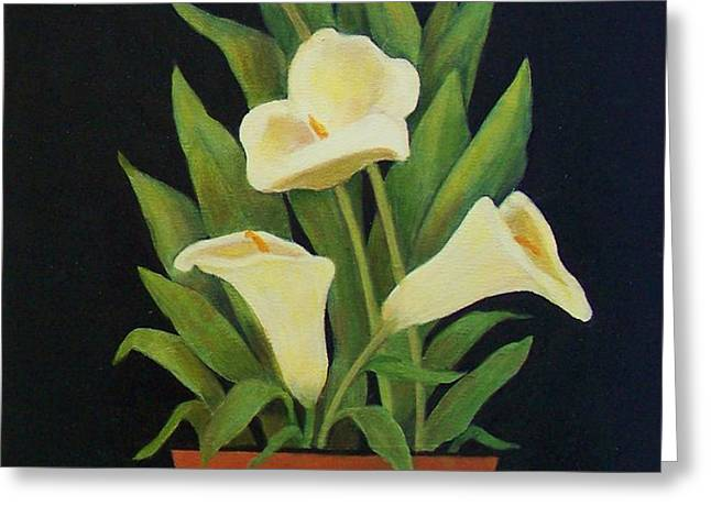 Calla lilies Greeting Card by Jane Landry  Read