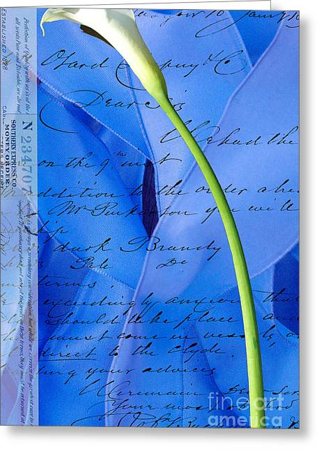Love Letter Mixed Media Greeting Cards - Calla Lilly on Blue Ribbon Love Letter Greeting Card by Anahi DeCanio