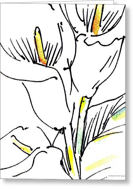 Calla Lily Drawings Greeting Cards - Calla-Lily-Abstract-Paintings-2 Greeting Card by Gordon Punt