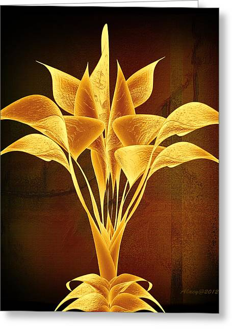 Lacy Fractal Greeting Cards - Calla Lily Abstract-v4 Greeting Card by Anne Lacy