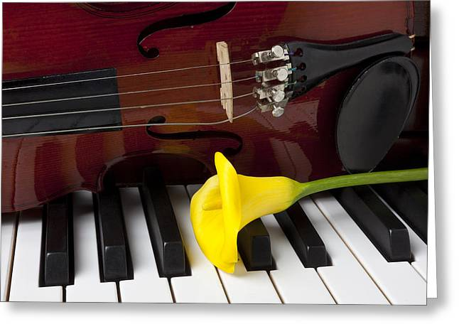 Calla Lily Greeting Cards - Calla lily and violin on piano Greeting Card by Garry Gay