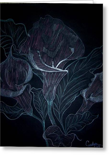 Calla Lily Drawings Greeting Cards - Calla Lily Nite Greeting Card by Audrey Thompson