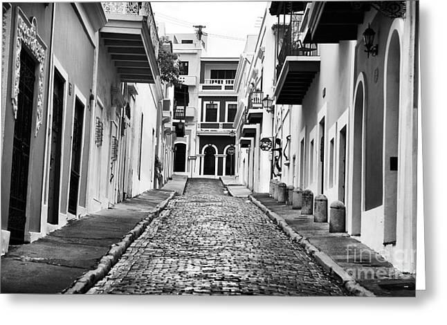 Old San Juan Greeting Cards - Calle de Guijarro Greeting Card by John Rizzuto