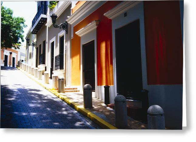 Row Of Houses Greeting Cards - Calle Del Sol Old San Juan Puerto Rico Greeting Card by George Oze