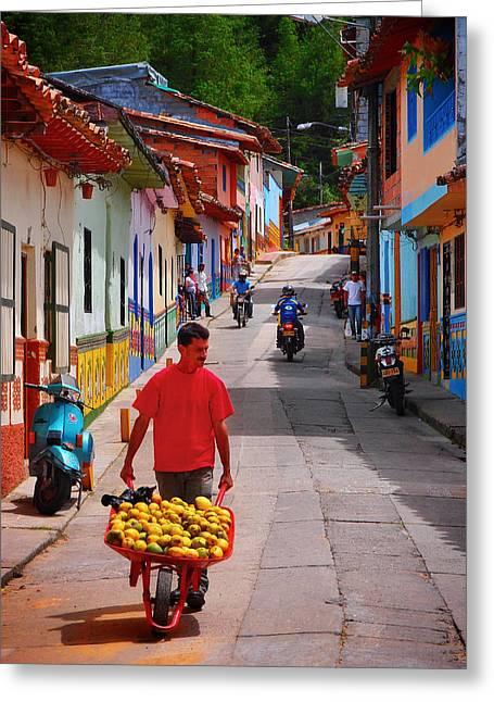 Guatape Greeting Cards - Calle Naranja Greeting Card by Skip Hunt
