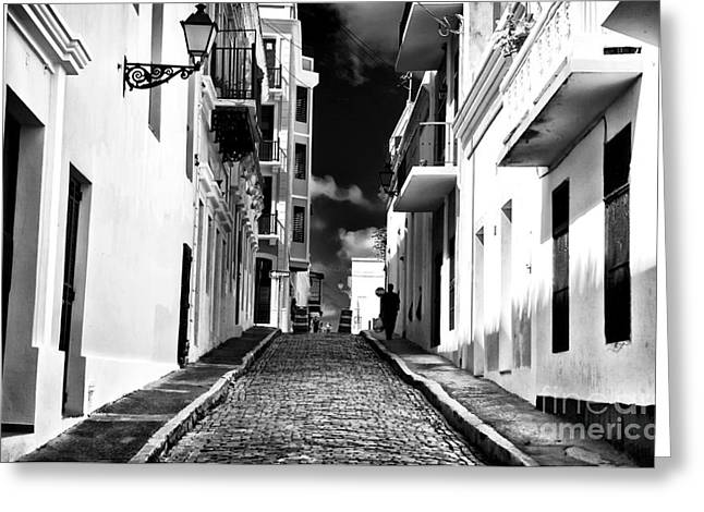 Calle Oscura Greeting Card by John Rizzuto